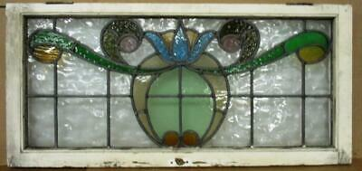 "OLD ENGLISH LEADED STAINED GLASS WINDOW Flower & Ribbon Transom 33.25"" x 15.5"""