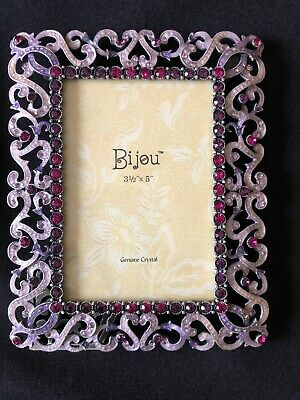 Vintage Pink & Fuschia Enamel and Crystal Picture Frame