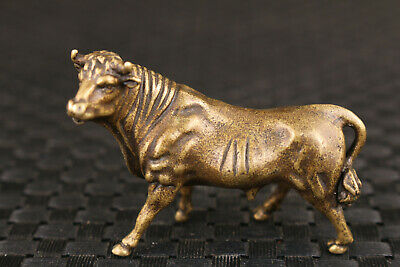 Chinese bronze ox cow statue table tea tray decoration collection gift