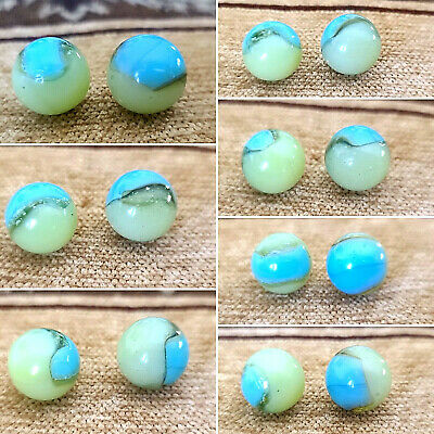 Akro Agate UV limeaid & Rare Baby Blue patch pair marbles  MINT- {MicsMibs}