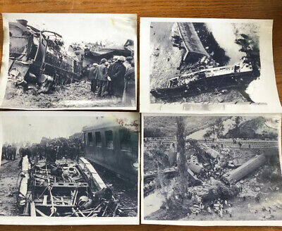 """Associated Press Photos  3 French Train Wrecks And 1 English 11"""" By 8 1/2"""""""