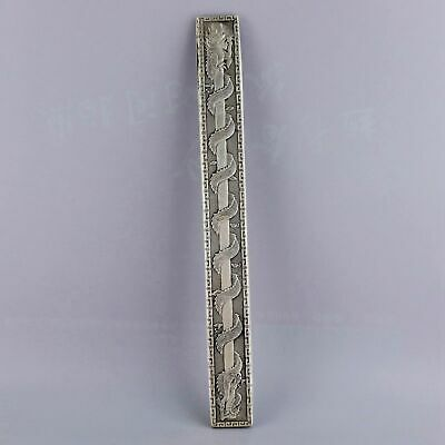 Collectable China Old Tibet Silver Carve Roar Dragon Delicate Paperweight Statue