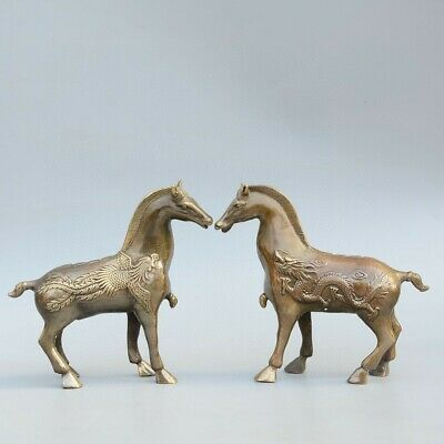 Collect Old Bronze Hand-Carved Myth Dragon & Phoenix & Horse A Pair Luck Statue