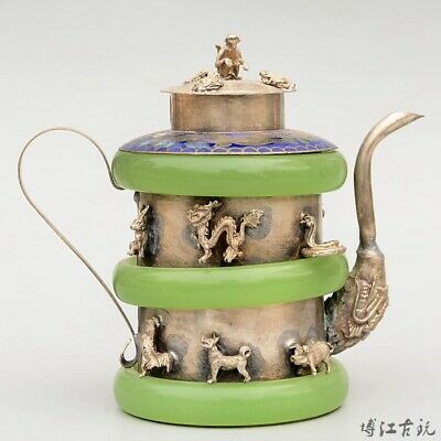 Collectable China Old Miao Silver Armour Agate Hand-Carved Twelve Zodiac Tea Pot
