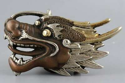 Collect China Antique Red Copper Hand Carve Myth Dragon Exorcism Lucky Statue