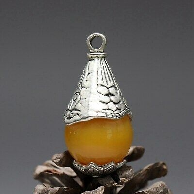 Collect China Old Miao Silver Armour Agate Hand-Carve Bloomy Flower Luck Pendant