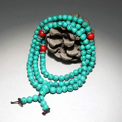 Collect China Old Turquoise Hand-Carved Smooth Texture Bead Delicate Bracelet