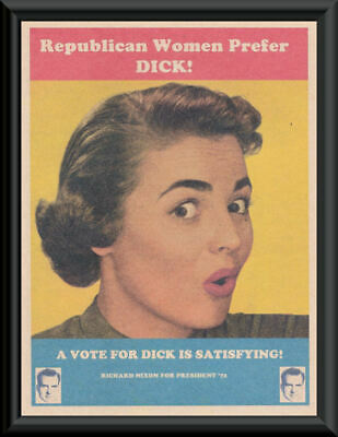 Women Prefer Dick Nixon Fantasy Campaign Poster On 50 Year Old Paper *P268