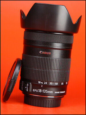 Canon EF-S 18-135mm f3.5-5.6 IS Image Stabilizer Zoom Lens +Front/Rear Lens Caps