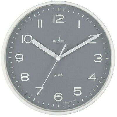 Small 19.5cm White Case Clear Number Grey Dial Acctim Wall Clock Kitchen Office
