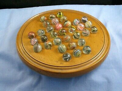 Victorian Antique Core Twist Glass Marble Game Toy Wooden Desktop Solitaire