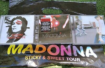 Madonna AMERICAN LIFE ERA Clean CD & Remixes & Reinvention DVD + Sticky Tour Bag