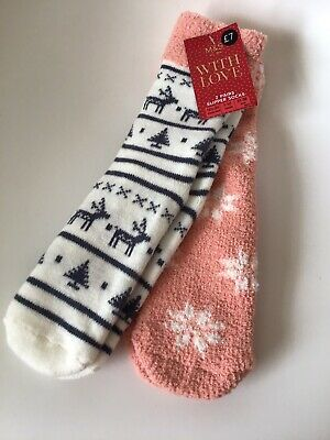 M&S Girls Slipper Socks. 2 Pairs. Age 7-10 Years. Shoe Size 12-3. Blue & Pink.