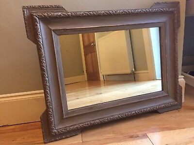 LARGE Antique French Overmantle Mirror Painted Distressed Original Glass 77cm