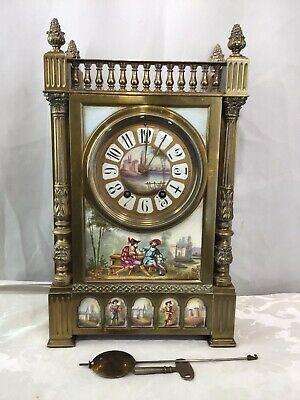 Antique Bronze And Porcelain Panel French Mantle Clock