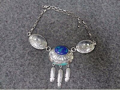 J. Multine Sterling Silver Azurite Necklace 18""