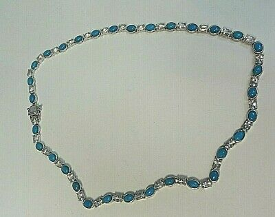 Turquoise and Topaz Sterling Silver Necklace 18""