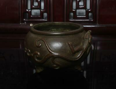 Old Chinese Bronze Incense Burner Xuande Marked Dragon Handle