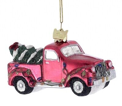 Kurt Adler Noble Gems Red Pickup Truck with Tree Holiday Ornament Glass