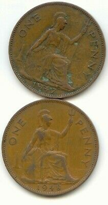 UK 1947 & 1948 Bronze Pennies (95.5% Copper) Pence Great Britain EXACT SET SHOWN