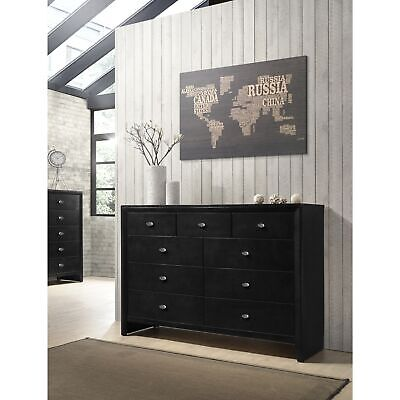 Gloria 350 Black Finish Wood 9 Drawers Dresser Black 9-drawer