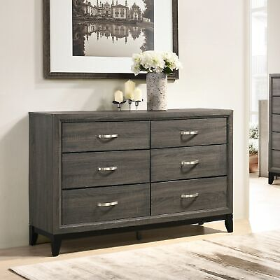 Stout Metal Bar Pulls Distressed Dresser Brown 6-drawer