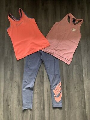 Girls Nike Top X2 & Leggings Outfit Sport Dance SIZE SMALL AGE 8-10 years Great