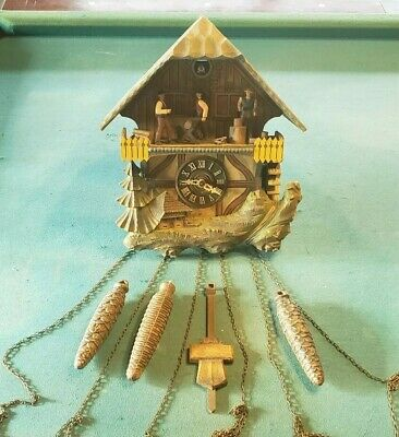 Vintage Cuckoo Clock E. Schmeckenbecher West Germany Black Forest Sawmill