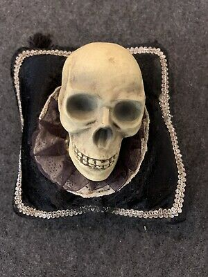 Skull on a Pillow Creepy Scary Haunted Halloween Decoration 6 In. Square Pillow