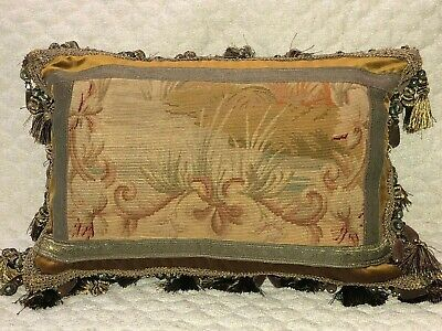 """STUNNING ANTIQUE 19TH C FRENCH NEEDLEPOINT TAPESTRY PILLOW 15"""" x 23"""""""