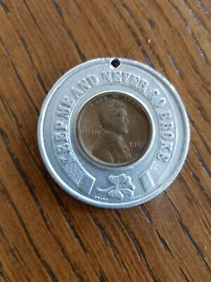 """Vintage Encased Lucky Penny 1921 """"Keep Me and You'll Never Go Broke"""""""
