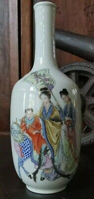 Antique Estate Old Chinese Familie rose Porcelain Vase It Marked Asian China