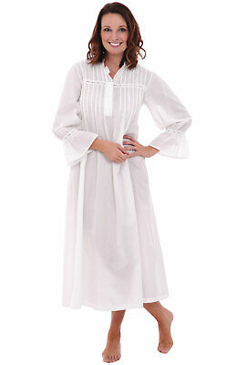 Alexander Del Rossa Womens  100% Cotton Long Bell Sleeve Victorian Nightgown MD