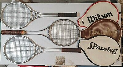 2 Vintage Metal Spalding Smasher III & Wilson T2000 Tennis Racquets w/Covers