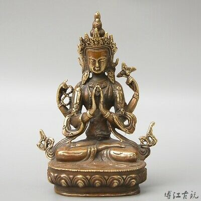 Collect China Old Bronze Hand-Carved Buddhism Kwan-Yin Exorcism Unique Statue