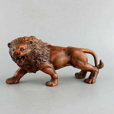 Collect Antique Boxwood Hand-Carved Fierce Roar Lion Delicate Decorate Statue