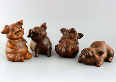 Collect China Old Boxwood Hand-Carved Four Xi Pig Delicate Lovely Decor Statue