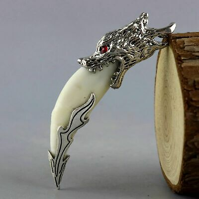 Collectable Antique Tibet Silver Inlay Wolf Tooth Carve Exorcism Amulet Pendant