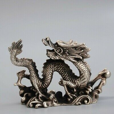 Collect China Old Miao Silver Hand-Carved Myth Dragon Moral Auspicious Statue