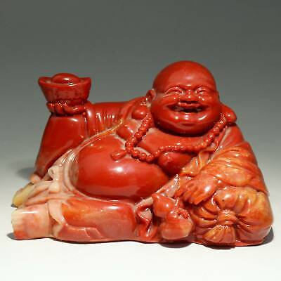 Collect Old Shoushan Stone Carve Happy Buddha Handheld Wealth Auspicious Statue