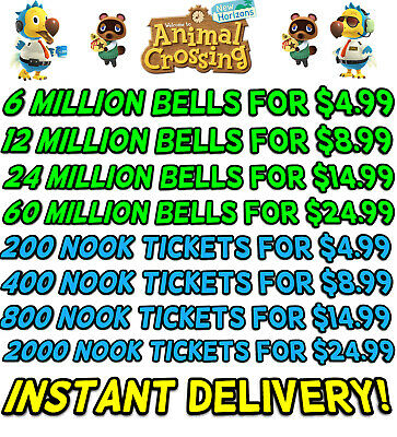 Animal Crossing New Horizons Bells, Nook Tickets, Fish Bait - Instant Delivery!