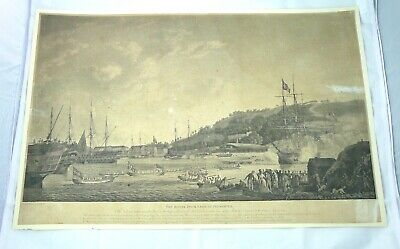 ANTICA INCISIONE MARINE MARITIME PLYMOUTH  ENGRAVING 1789 DODD england SEA VIEW