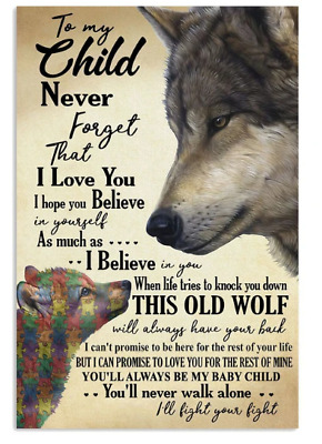 Autism Awareness Wolf Parents To My Kids Poster No Frame