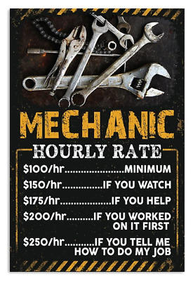 Mechanic Hourly Rate Funny Poster No Frame