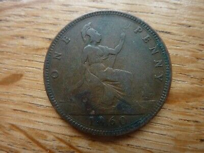 1860 British Victoria One Penny 1d Coin (ref90G)