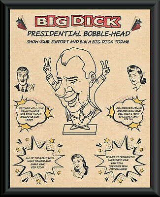 Richard Dick Nixon Bobblehead Fantasy Ad Poster On 50 Year Old Paper *P269