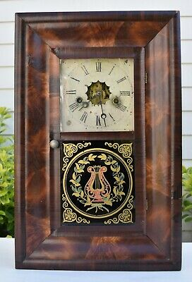 New Haven Ogee OG 30 Hour Clock with Lyre Reverse Glass Painting