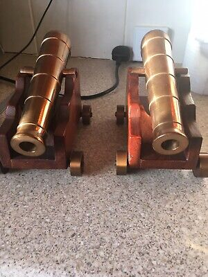 Antique Solid Brass/Copper/bronze Cannons And Wooden Carriages
