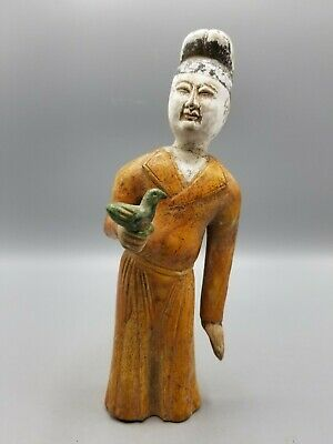 ANTIQUE CHINESE POTTERY FIGURE TANG STYLE SANCAI FALCONER 1920s - REPAIRED - NR