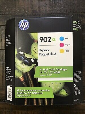 Genuine HP 902XL High Yield TRI-COLOR Ink Cartridges 3-Pack T0A41BN 3/2021